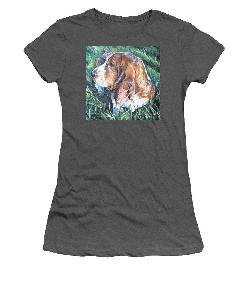 Bassett Hound Women's T-Shirt (Athletic Fit) featuring the painting Bassett Hound 1 by Lee Ann Shepard