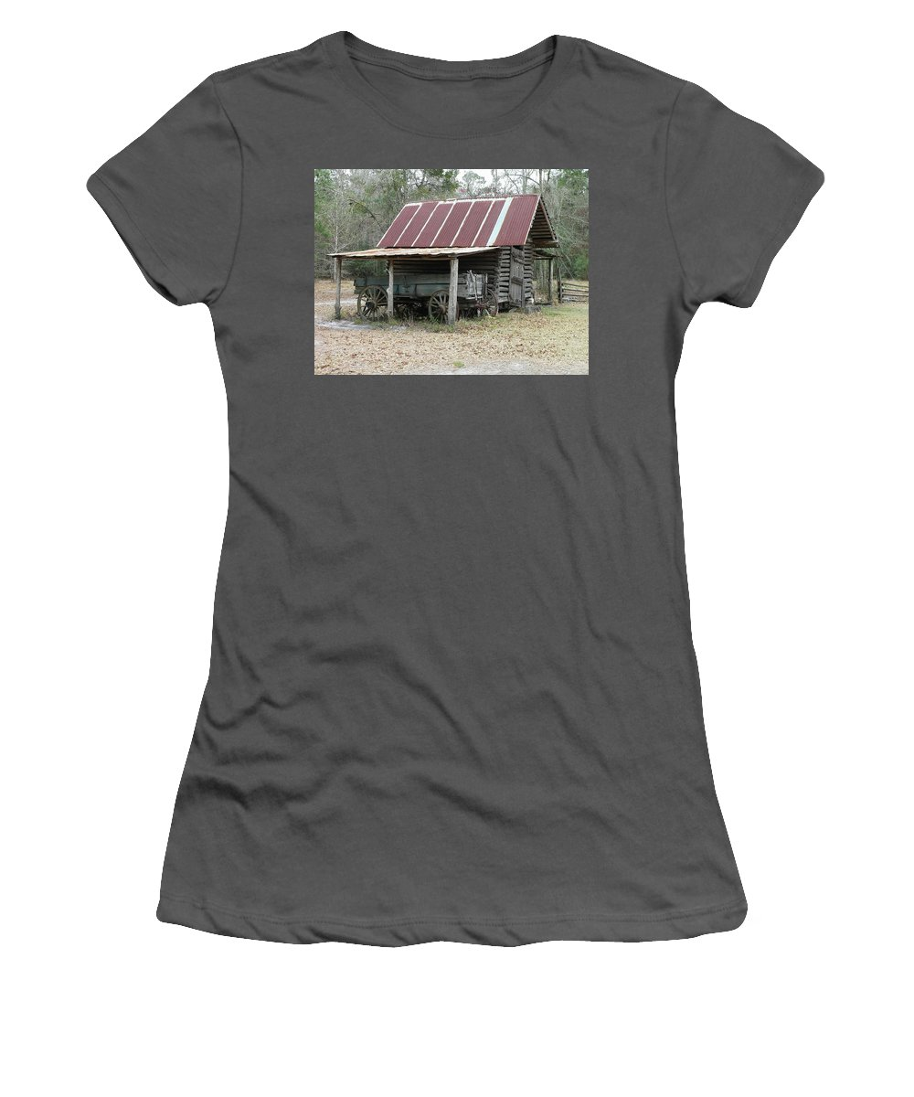 Barn Women's T-Shirt (Athletic Fit) featuring the photograph Battered Barn And Weathered Wagon by Al Powell Photography USA
