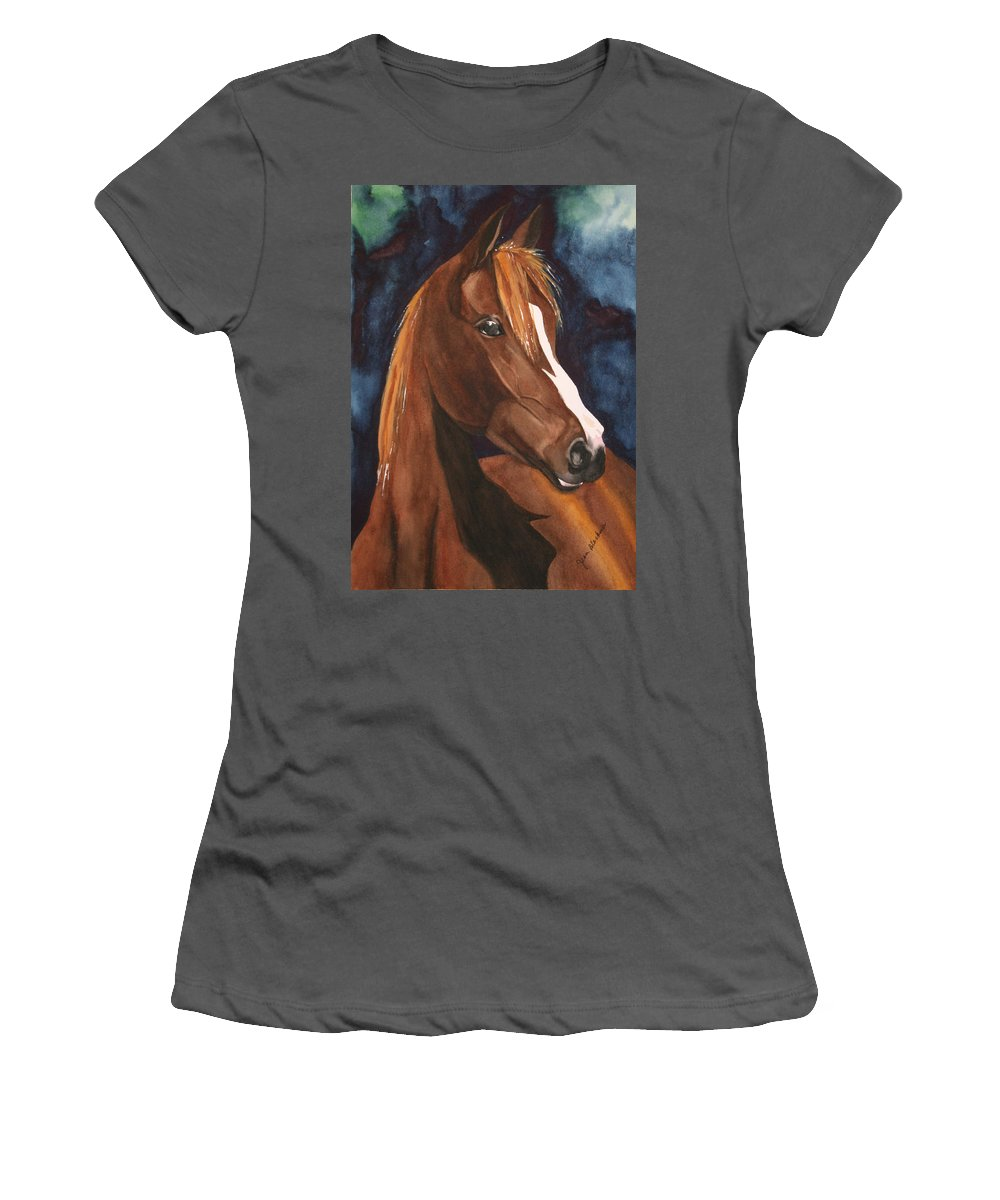Horse Women's T-Shirt (Athletic Fit) featuring the painting Bay On Blue 2 by Jean Blackmer