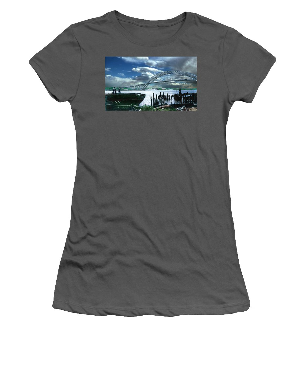 Seascape Women's T-Shirt (Athletic Fit) featuring the photograph Bayonne Bridge by Steve Karol