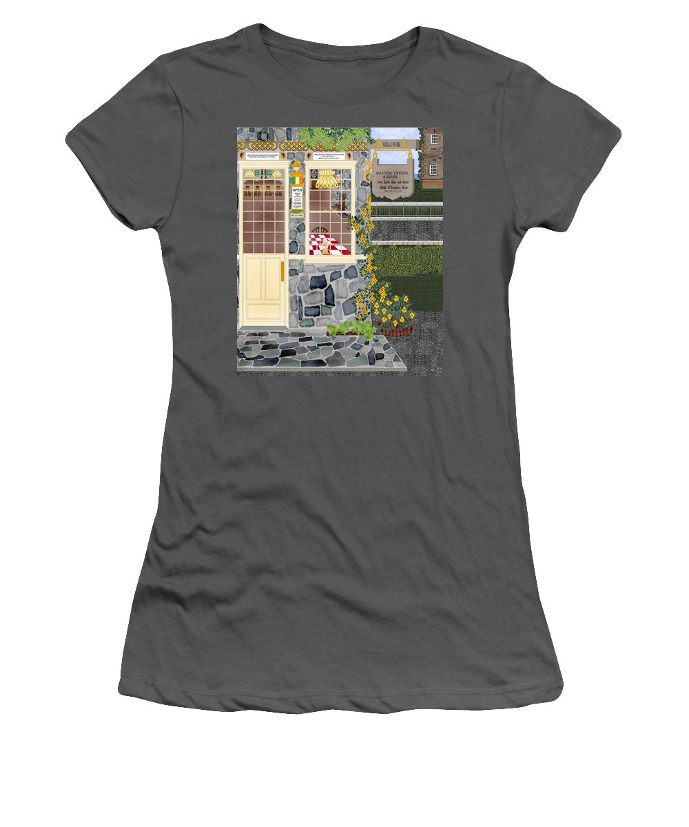 Quaint Inn Women's T-Shirt (Athletic Fit) featuring the painting Bayside Inn And Tavern In Ireland by Anne Norskog