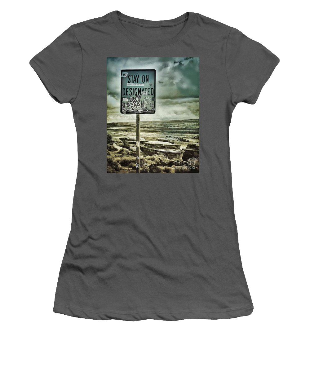 Sign Women's T-Shirt (Athletic Fit) featuring the photograph Be A Rebel by Diana Rajala