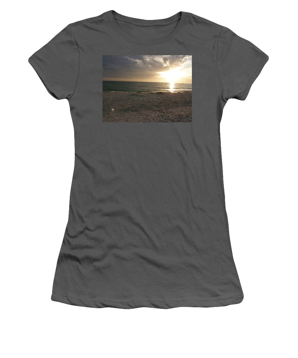 Beach Women's T-Shirt (Athletic Fit) featuring the photograph Beach At Sunset by Alice Markham