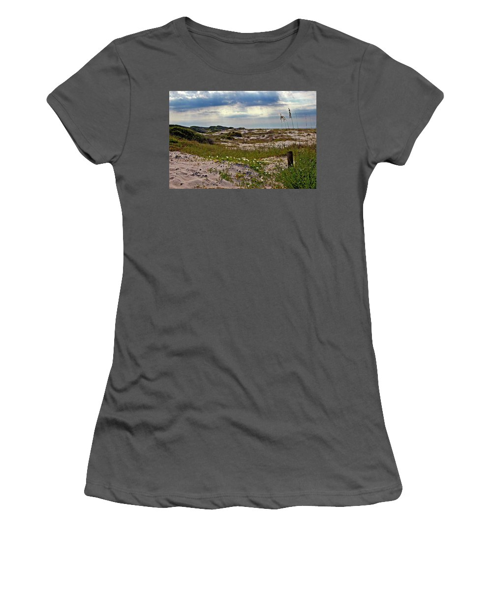 Beach Women's T-Shirt (Athletic Fit) featuring the painting Beach Carpet by Michael Thomas