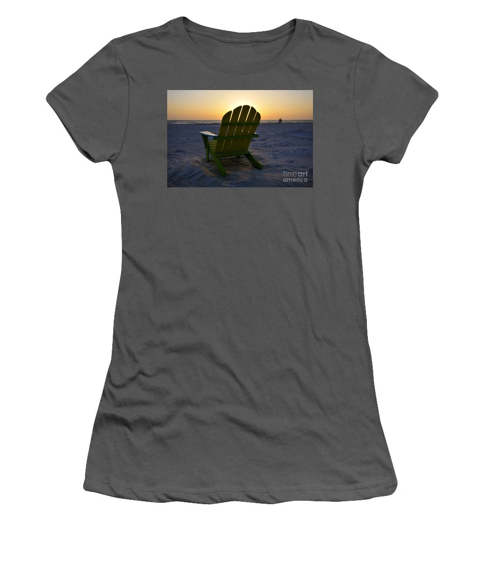 Sunset Women's T-Shirt (Athletic Fit) featuring the photograph Beach Chair Sunset by David Lee Thompson