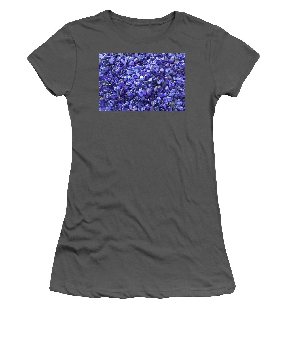 Blue Women's T-Shirt (Athletic Fit) featuring the photograph Beach Glass - Blue by Mary Deal