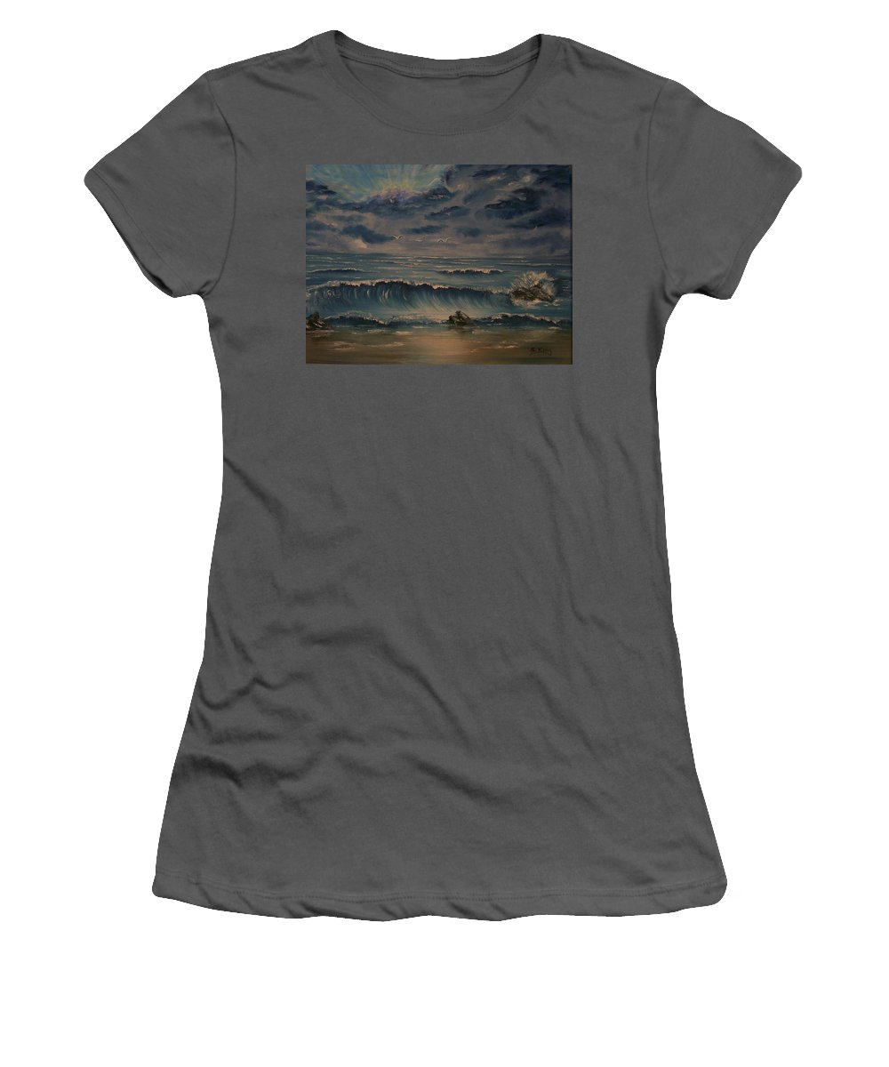 Water Women's T-Shirt (Athletic Fit) featuring the painting Beach Scene by Stephen King