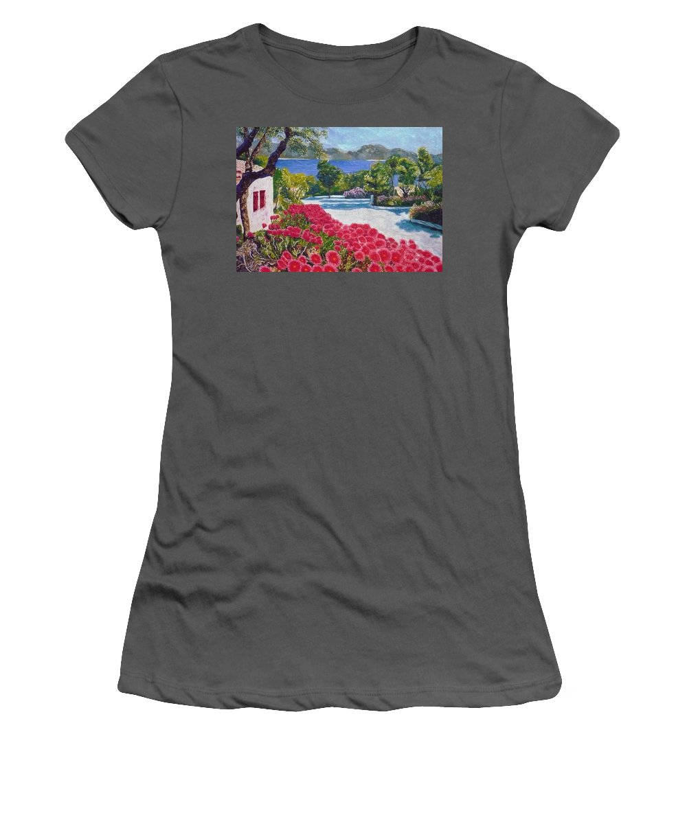 Landscape Women's T-Shirt (Athletic Fit) featuring the painting Beach With Flowers by Ericka Herazo