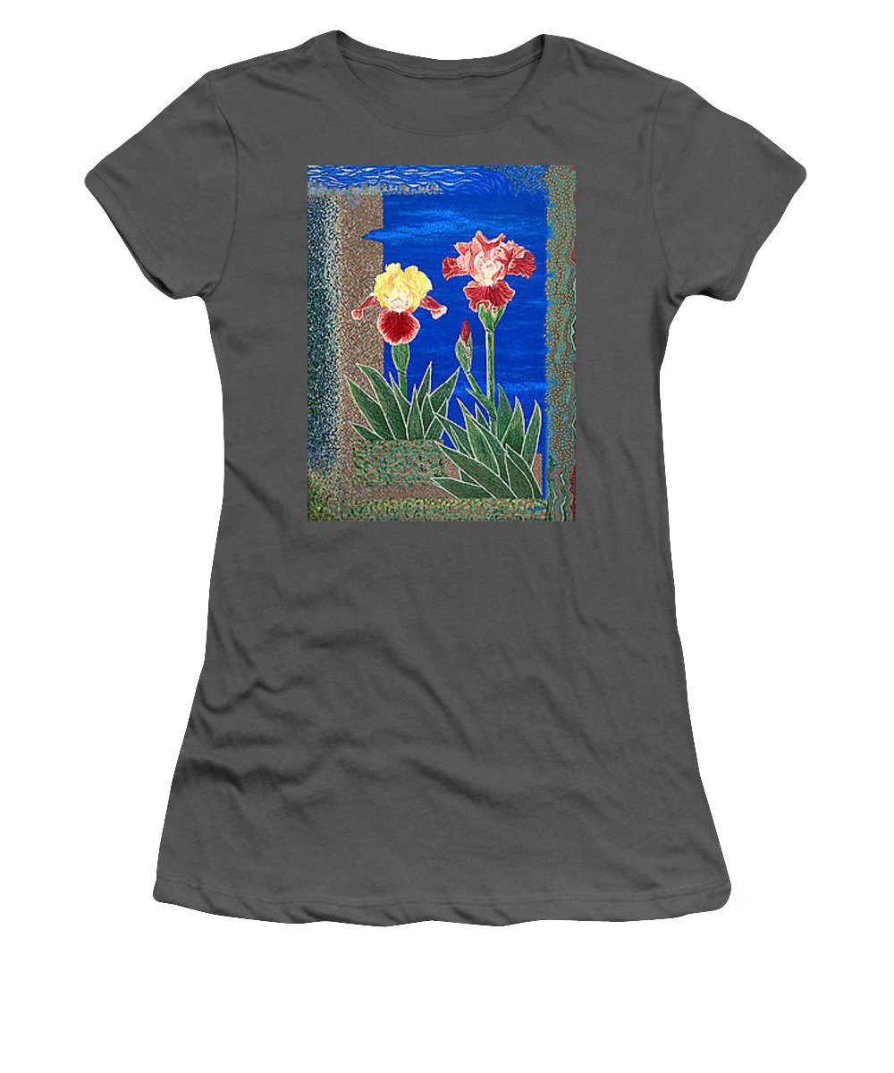 Irises Women's T-Shirt (Athletic Fit) featuring the painting Bearded Irises Cheerful Fine Art Print Giclee High Quality Exceptional Color by Baslee Troutman