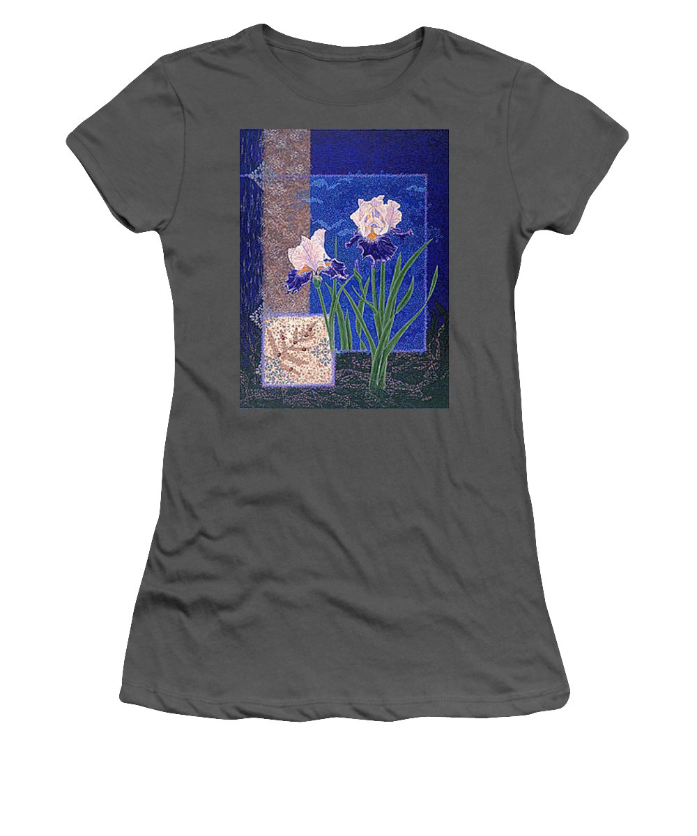 Irises Women's T-Shirt (Athletic Fit) featuring the painting Bearded Irises Fine Art Print Giclee Ladybug Path by Baslee Troutman