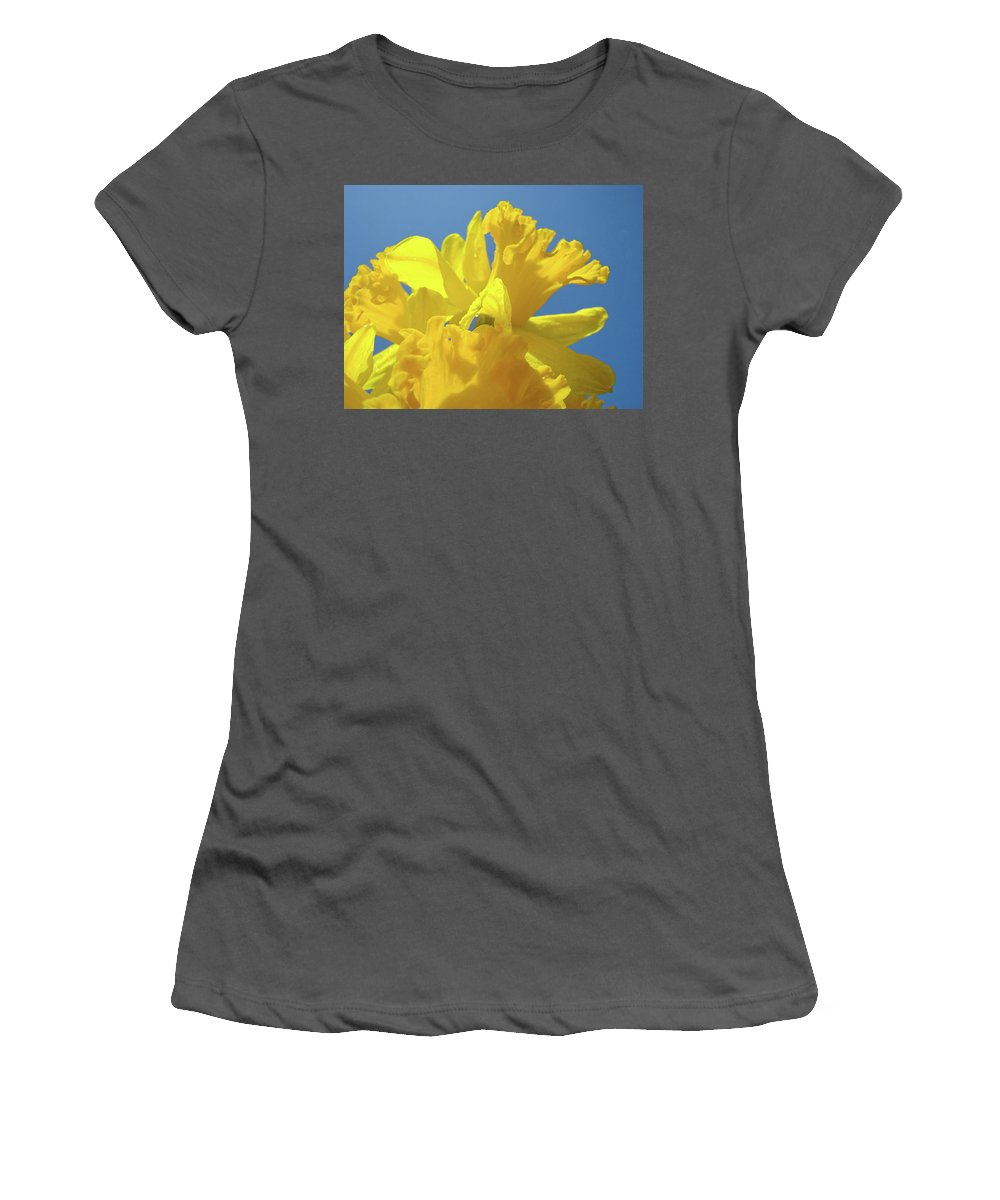 Nature Women's T-Shirt (Athletic Fit) featuring the photograph Beautiful Spring Daffodil Bouquet Flowers Blue Sky Art Prints Baslee Troutman by Baslee Troutman