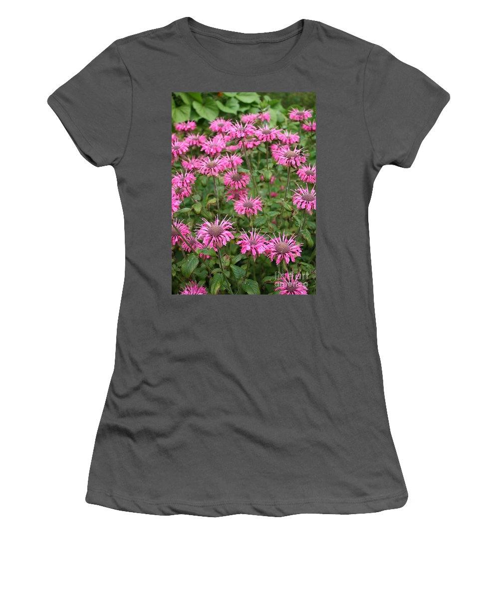 Bee Balm Women's T-Shirt (Athletic Fit) featuring the photograph Bee Balm Beauties by Carol Groenen