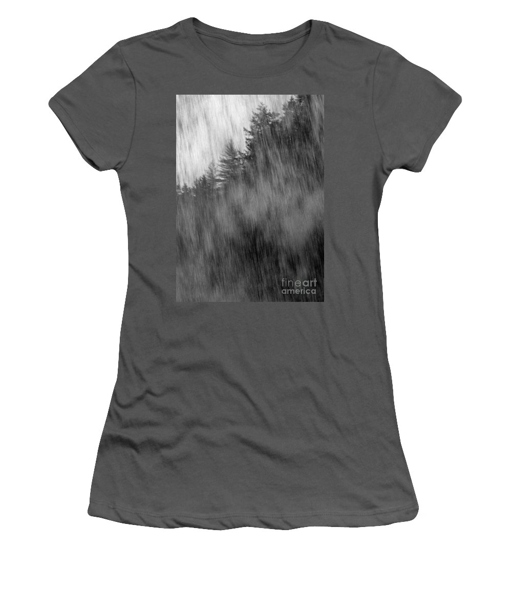 Waterfalls Women's T-Shirt (Athletic Fit) featuring the photograph Behind The Falls by Richard Rizzo