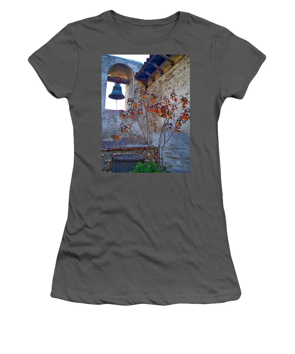 Mission Women's T-Shirt (Athletic Fit) featuring the photograph Bell Wall And Eastern Wall Of Serra Chapel In Sacred Garden Mission San Juan Capistrano California by Karon Melillo DeVega