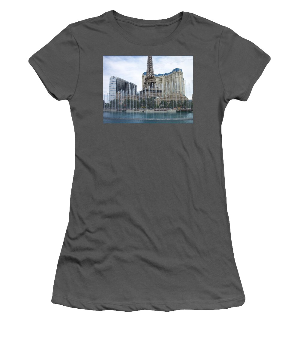 Bellagio Fountain Women's T-Shirt (Athletic Fit) featuring the photograph Bellagio Fountain 1 by Anita Burgermeister