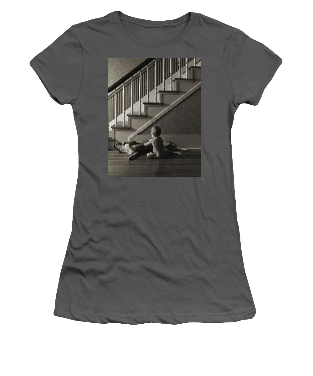 Dog And Baby Women's T-Shirt (Athletic Fit) featuring the photograph Belly Scratch by Herman Robert
