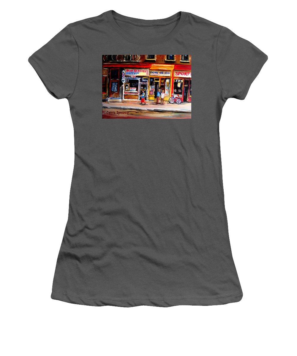 Bernard Barbershop Women's T-Shirt (Athletic Fit) featuring the painting Bernard Barbershop by Carole Spandau