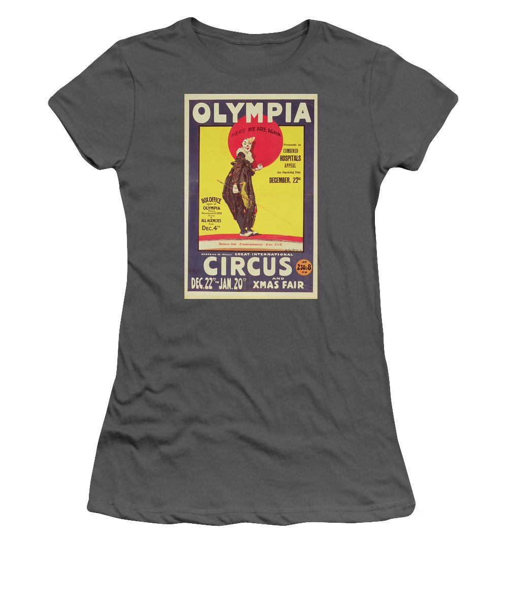 Bertram Mills Circus Poster Women's T-Shirt (Athletic Fit) featuring the painting Bertram Mills Circus Poster by Dudley Hardy