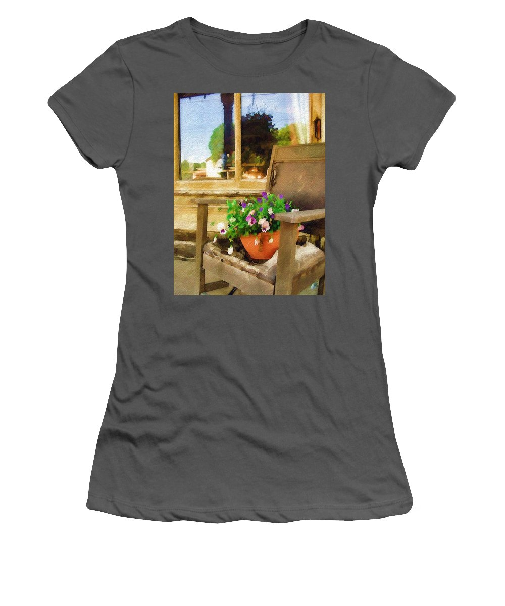 Pansies Women's T-Shirt (Athletic Fit) featuring the photograph Best Seat In The House by Sandy MacGowan