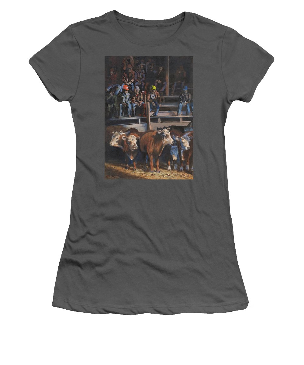 Cattle Women's T-Shirt (Athletic Fit) featuring the painting Bet These'll Go High by Mia DeLode