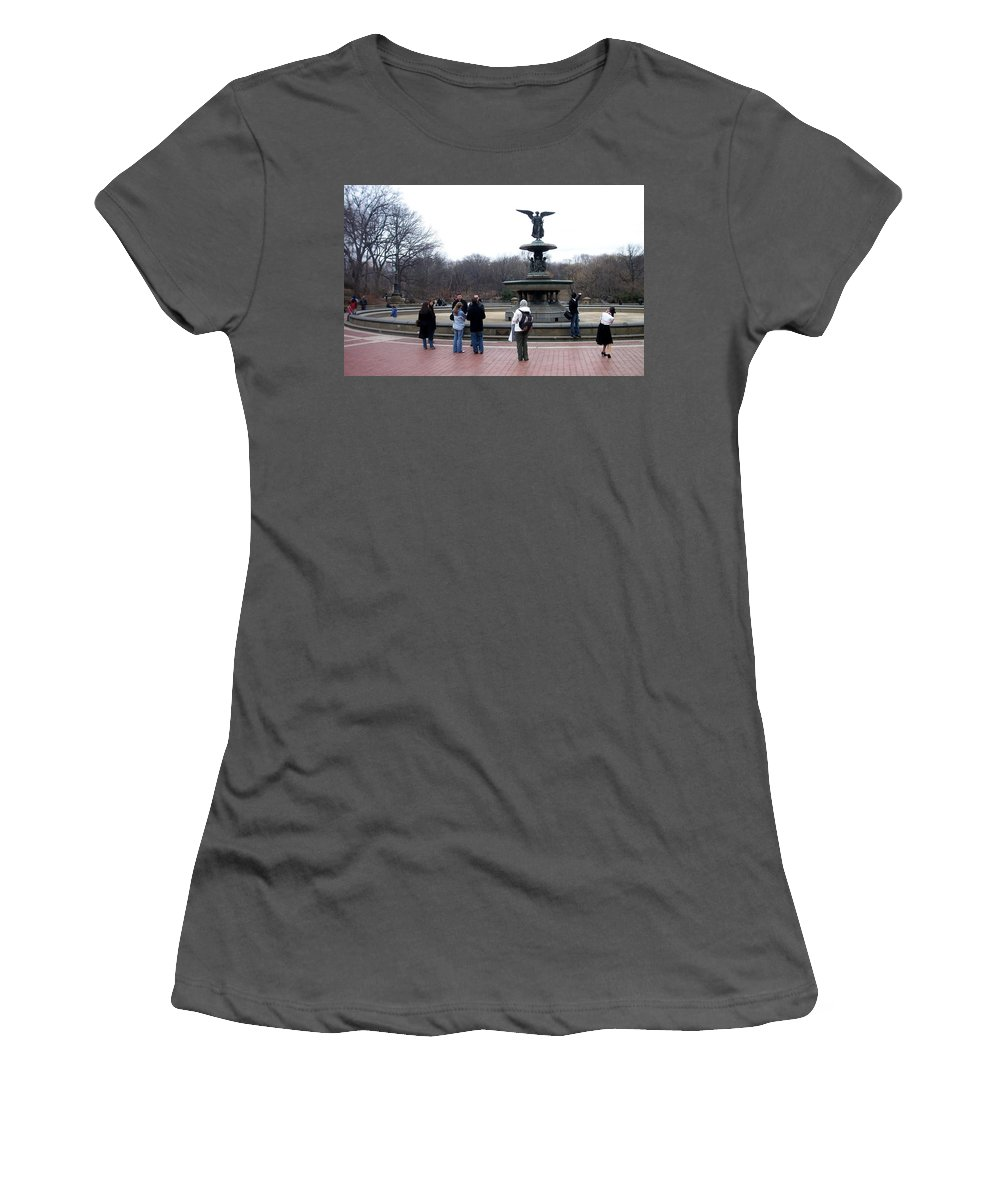 Bethesda Fountain Women's T-Shirt (Athletic Fit) featuring the photograph Bethesda Fountain by Anita Burgermeister