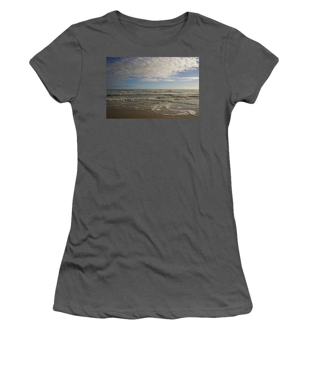 Wave Sand Ocean Beach Sky Water Wave Tide Sun Sunny Vacation Cloud Morning Early Women's T-Shirt (Athletic Fit) featuring the photograph Between Night And Day by Andrei Shliakhau