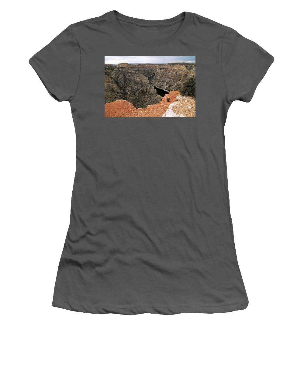 Bighorn Canyon National Recreation Area Women's T-Shirt (Athletic Fit) featuring the photograph Bighorn Canyon by Larry Ricker