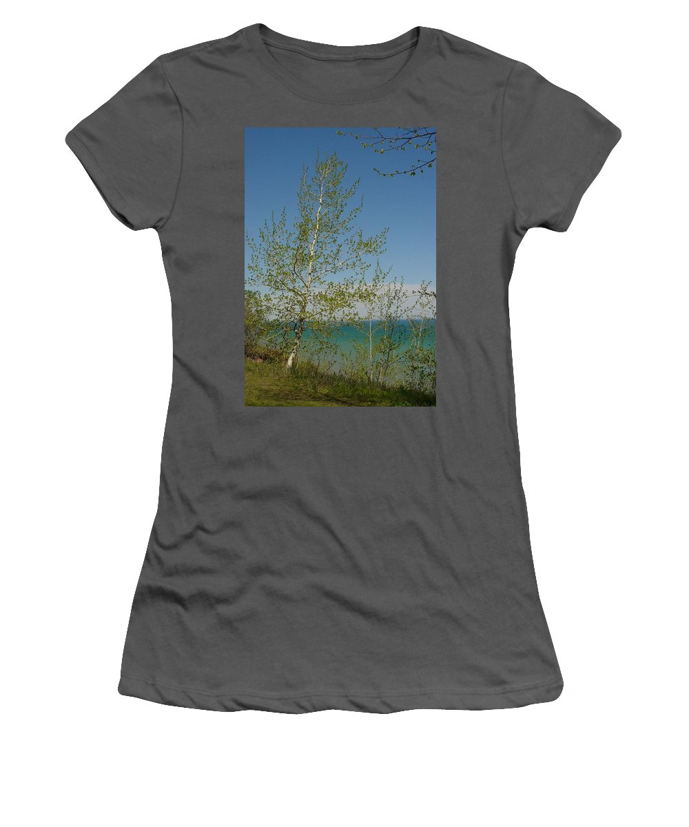 Birch Tree Women's T-Shirt (Athletic Fit) featuring the photograph Birch Tree Over Lake by Anita Burgermeister