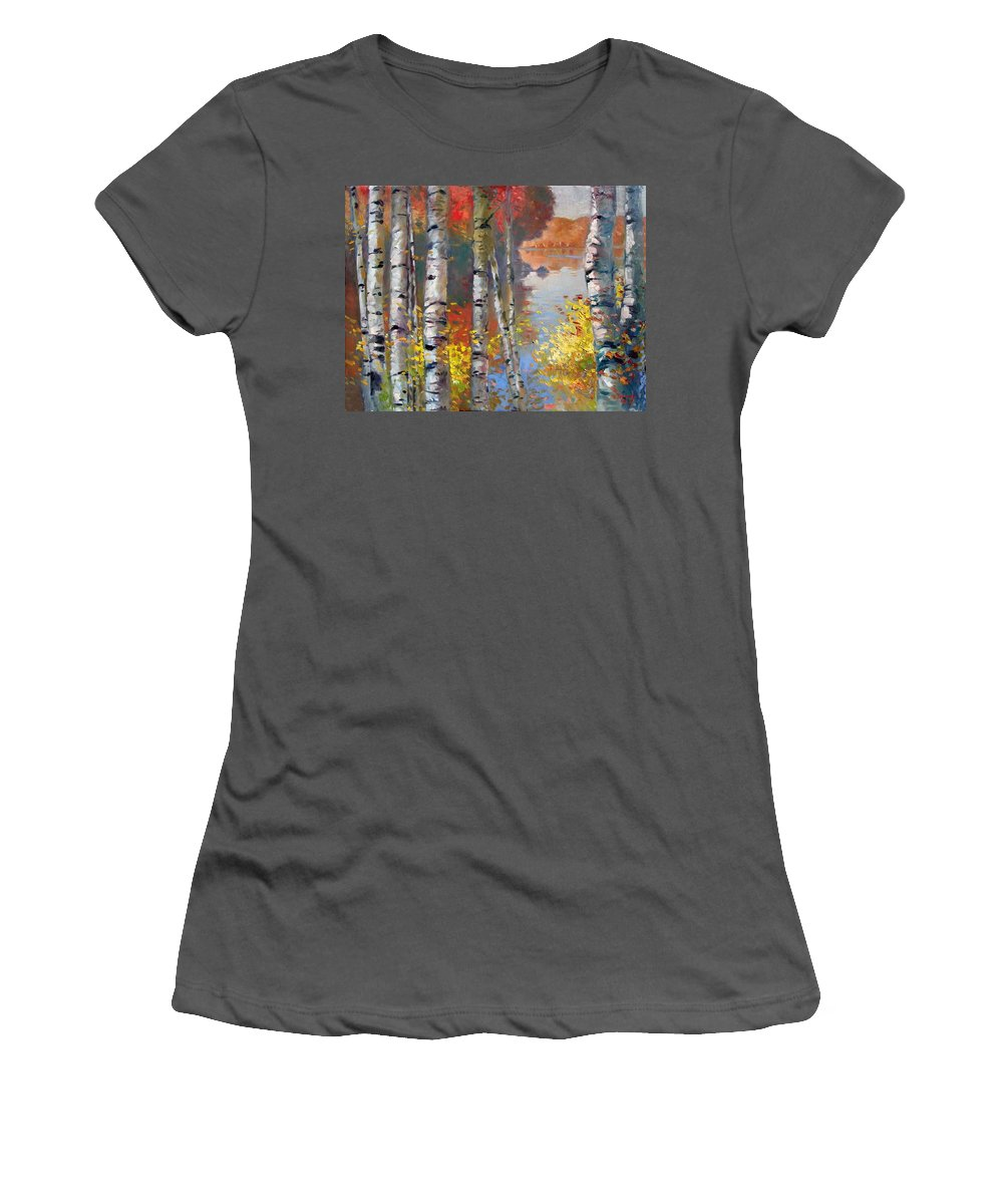 Landscape Women's T-Shirt (Athletic Fit) featuring the painting Birch Trees By The Lake by Ylli Haruni