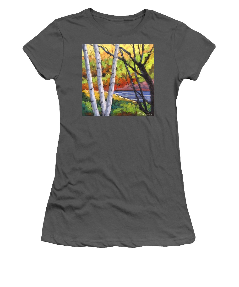 Art Women's T-Shirt (Athletic Fit) featuring the painting Birches 06 by Richard T Pranke