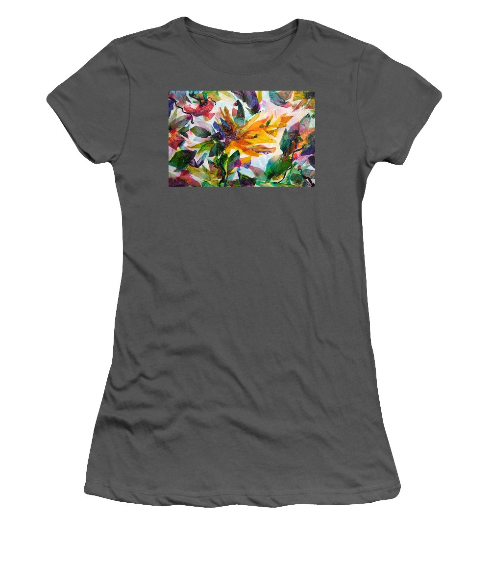 Abstract Women's T-Shirt (Athletic Fit) featuring the painting Bird Of Paradise by Barbara Colangelo