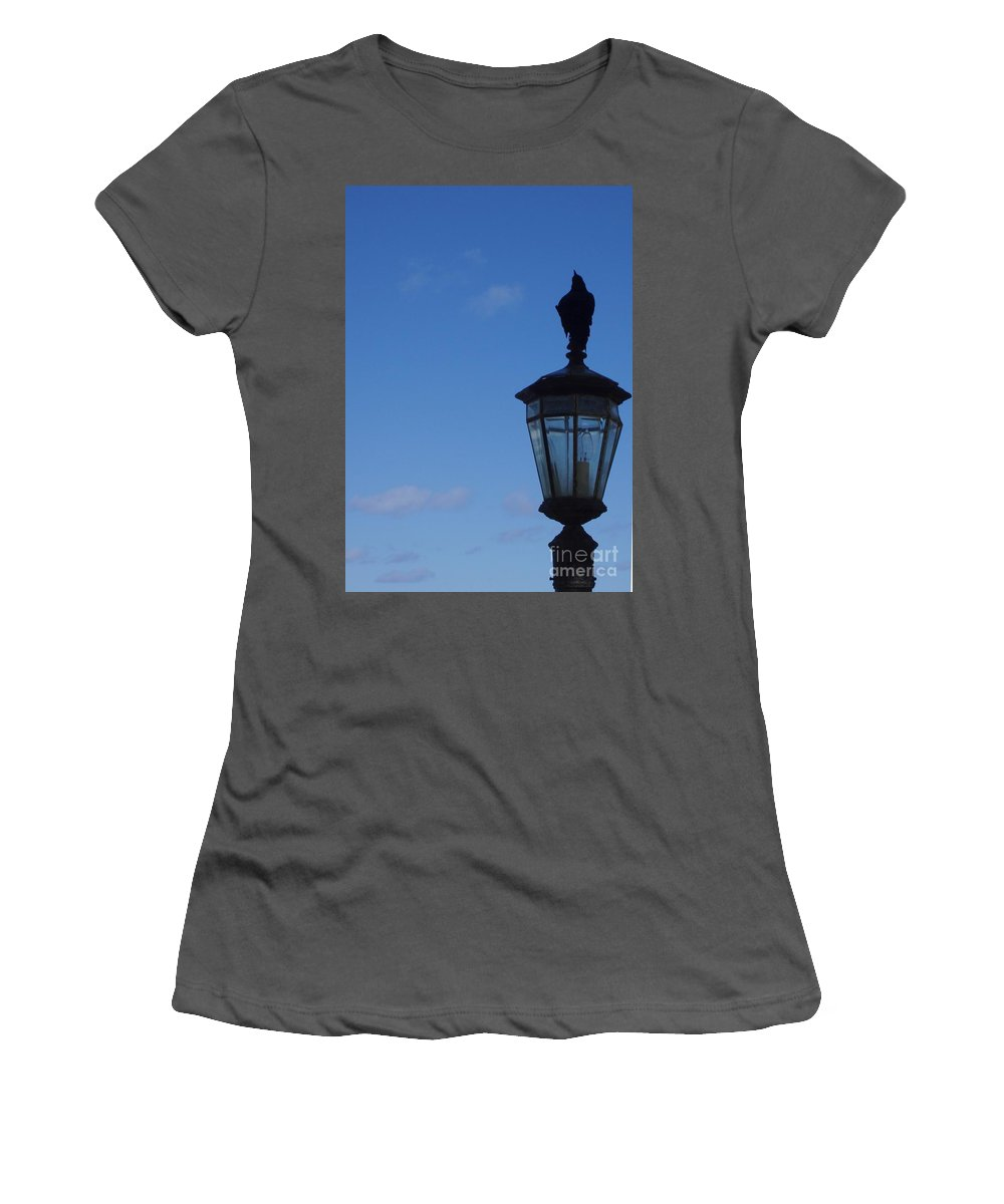 Bird Women's T-Shirt (Athletic Fit) featuring the photograph Bird On Lamplight by Deborah Crew-Johnson