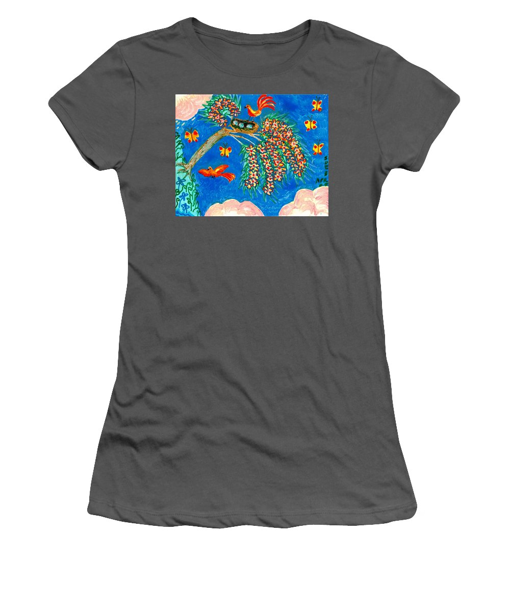 Sue Burgess Women's T-Shirt (Athletic Fit) featuring the painting Birds And Nest In Flowering Tree by Sushila Burgess