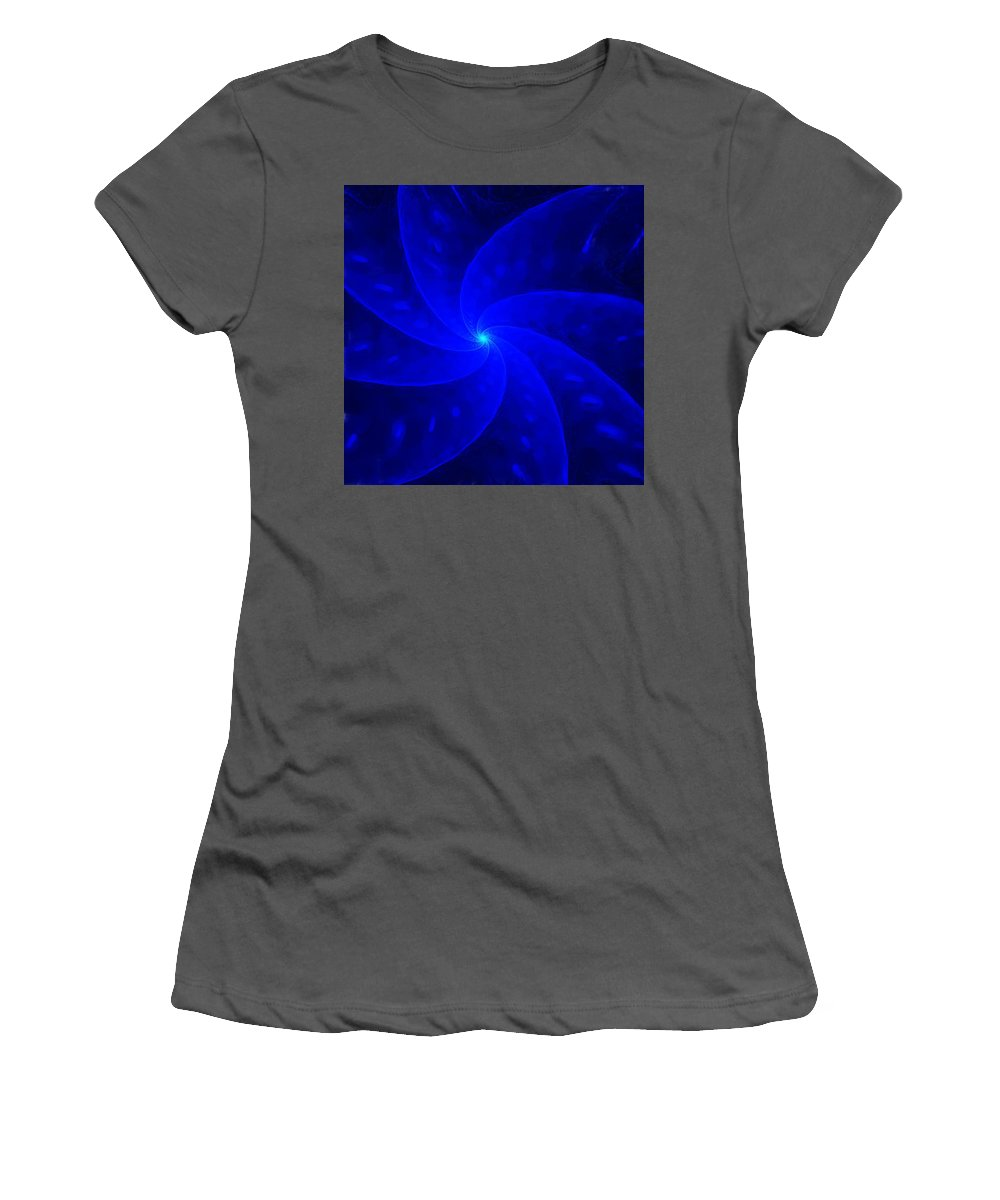 Abstract Women's T-Shirt (Athletic Fit) featuring the digital art Bkue Pinwheel by David Lane