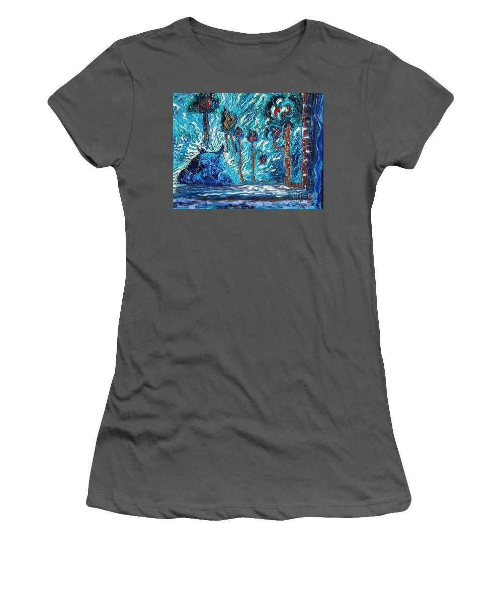 Abstract Cat Paintings Women's T-Shirt (Athletic Fit) featuring the painting Black Cat by Seon-Jeong Kim