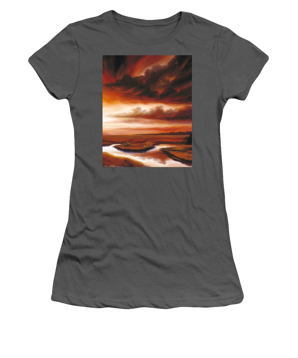 Contemporary Women's T-Shirt (Athletic Fit) featuring the painting Black Fire by James Christopher Hill