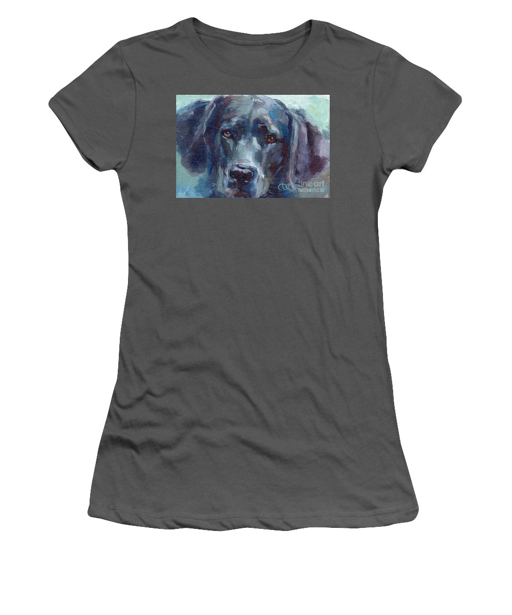 Black Lab Women's T-Shirt (Athletic Fit) featuring the painting Black Lab Bandit by Kimberly Santini