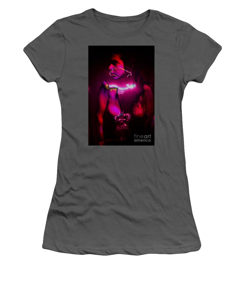 Clay Women's T-Shirt (Athletic Fit) featuring the pyrography Black Light Passion by Clayton Bruster