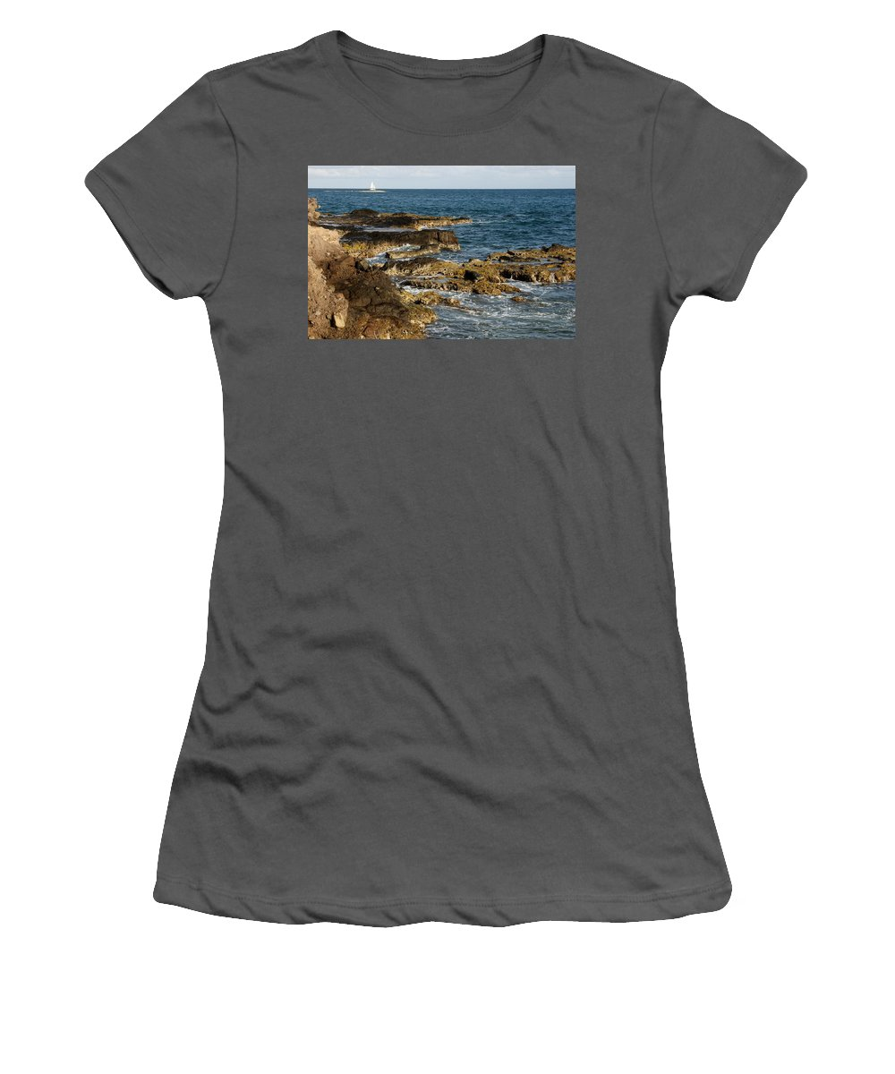 Sailboat Women's T-Shirt (Athletic Fit) featuring the photograph Black Rock Point And Sailboat by Jean Macaluso