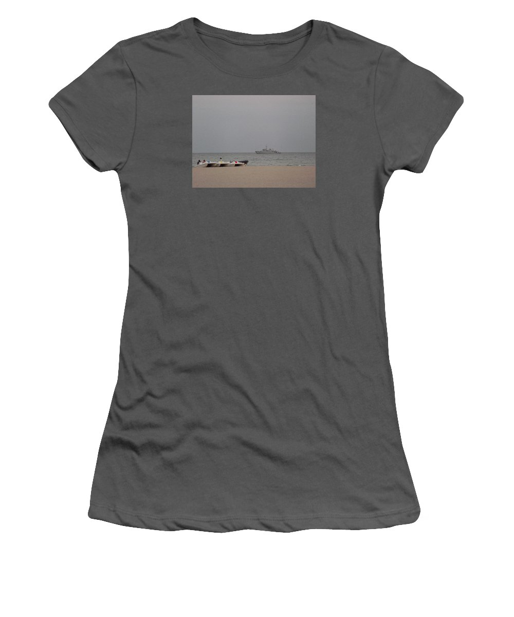 Women's T-Shirt (Athletic Fit) featuring the photograph Black Sea by Gabriel Gyorfi