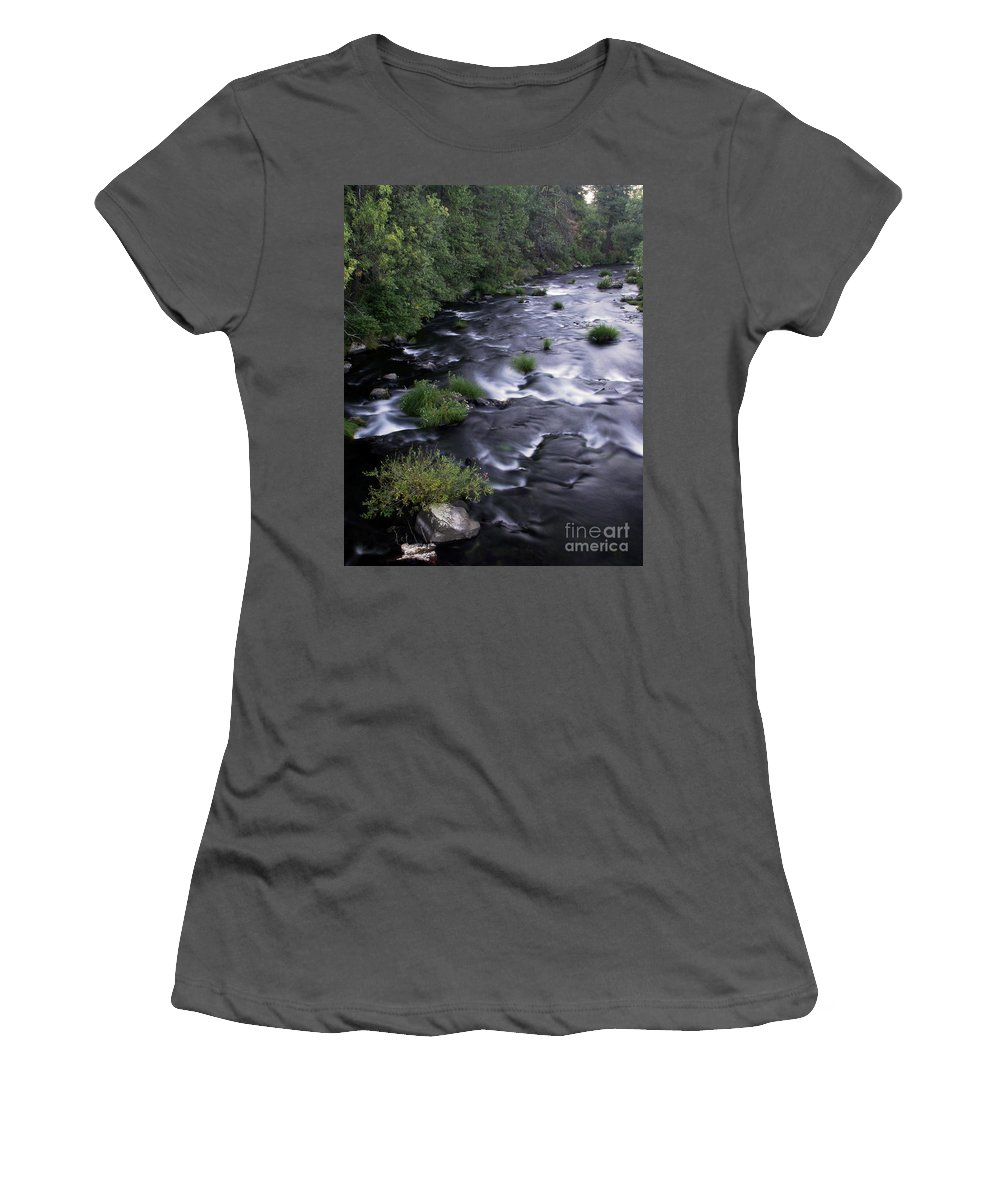 River Women's T-Shirt (Athletic Fit) featuring the photograph Black Waters by Peter Piatt