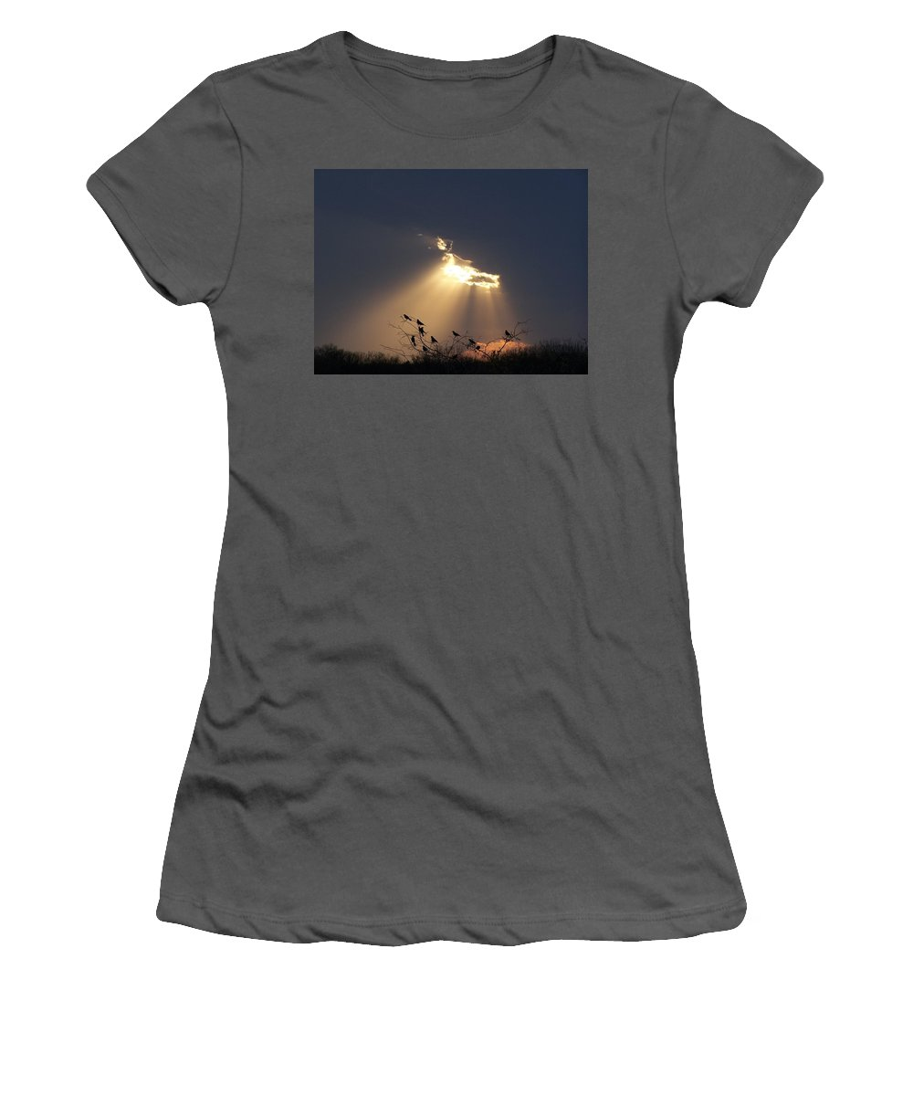Storm Women's T-Shirt (Athletic Fit) featuring the photograph Blackbird Sky by Gale Cochran-Smith