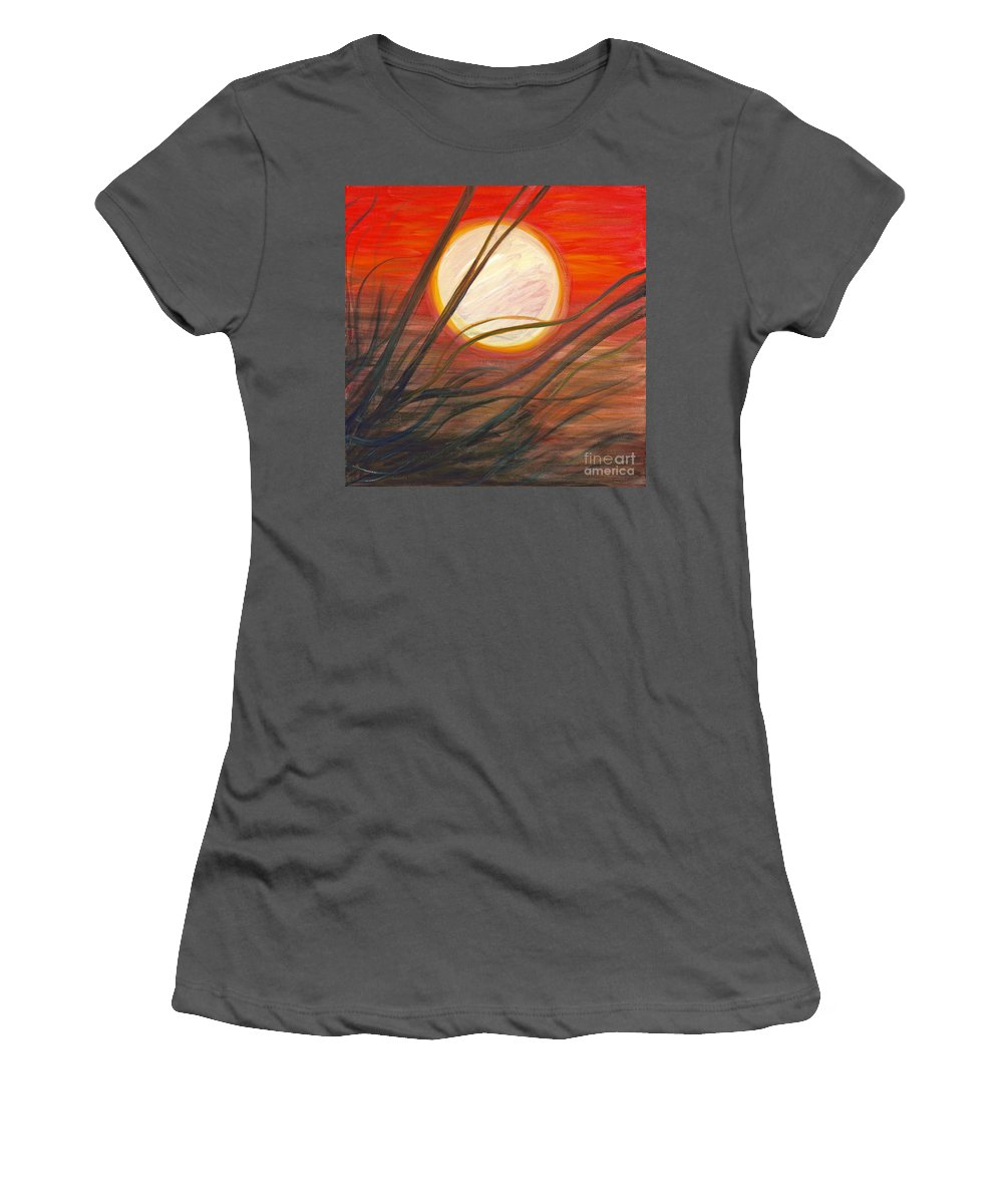 Sunrise Women's T-Shirt (Athletic Fit) featuring the painting Blazing Sun And Wind-blown Grasses by Nadine Rippelmeyer