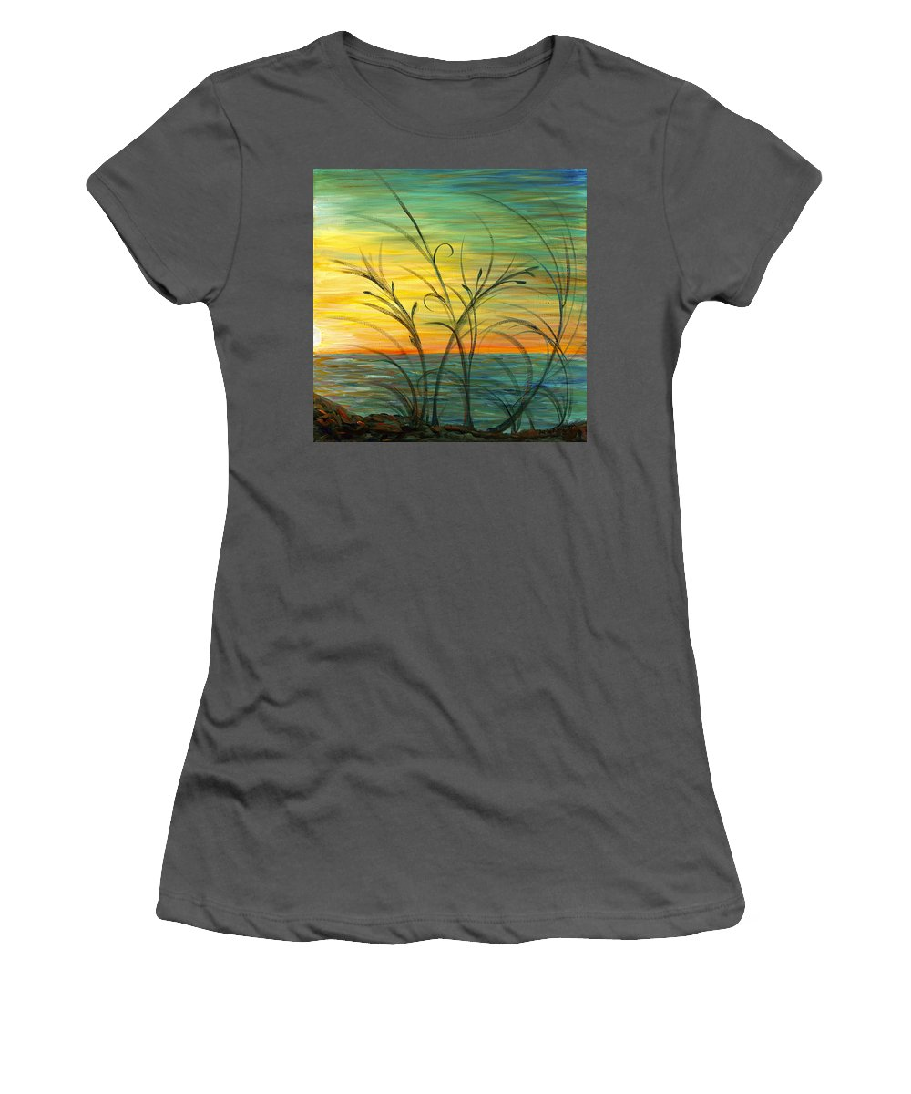 Blue Women's T-Shirt (Athletic Fit) featuring the painting Blazing Sunrise And Grasses In Blue by Nadine Rippelmeyer