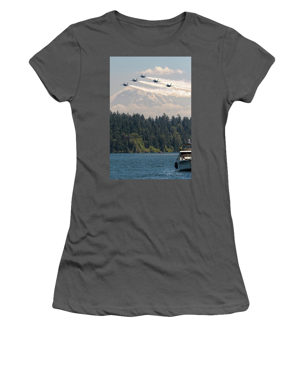 Blue Angels Women's T-Shirt (Athletic Fit) featuring the photograph Blue Angels Over Lake Washington by John Driscoll