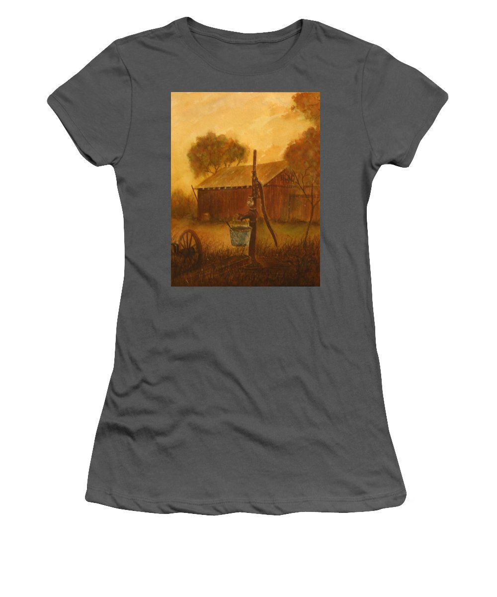 Barn; Bucket; Country Women's T-Shirt (Athletic Fit) featuring the painting Blue Bucket by Ben Kiger