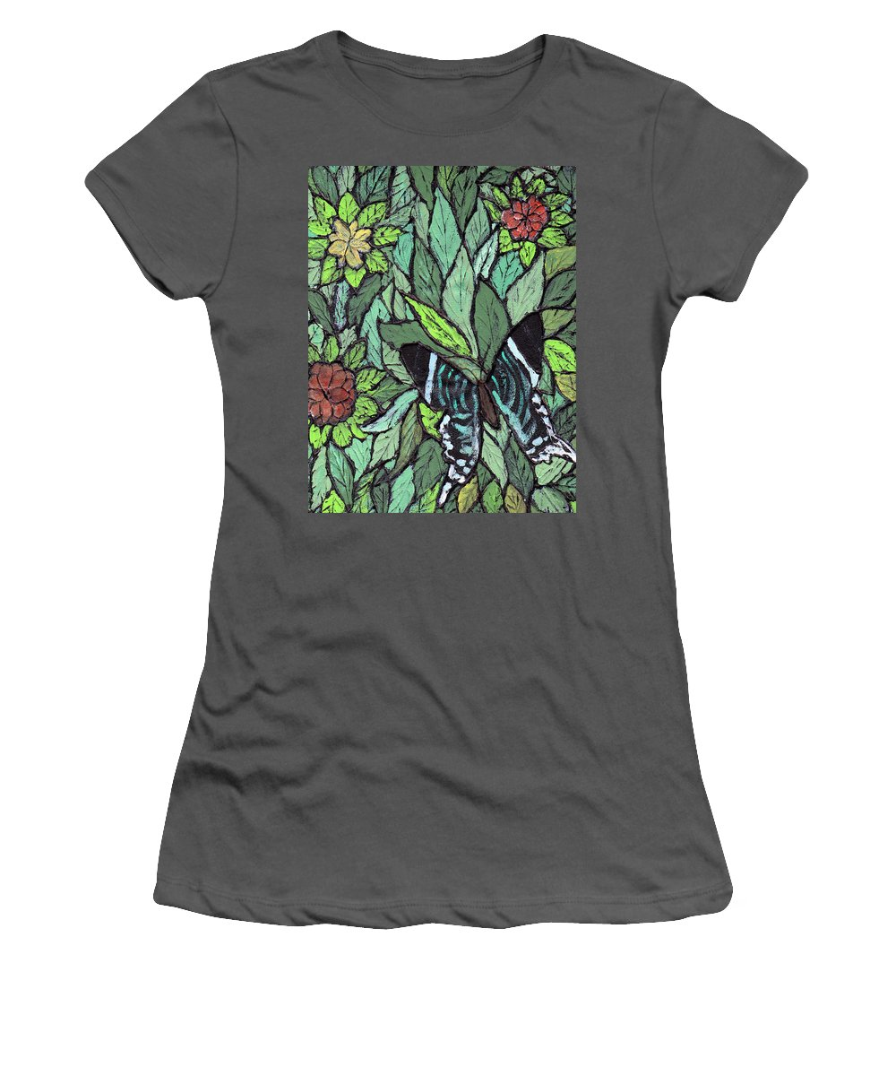 Butterfly Women's T-Shirt (Athletic Fit) featuring the painting Blue Butterfly by Wayne Potrafka