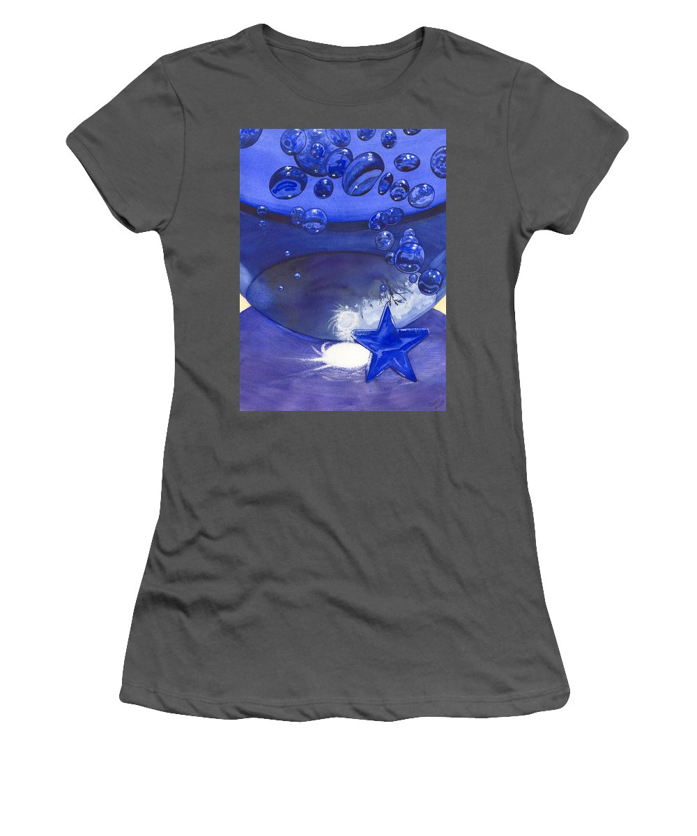Blue Women's T-Shirt (Athletic Fit) featuring the painting Blue by Catherine G McElroy