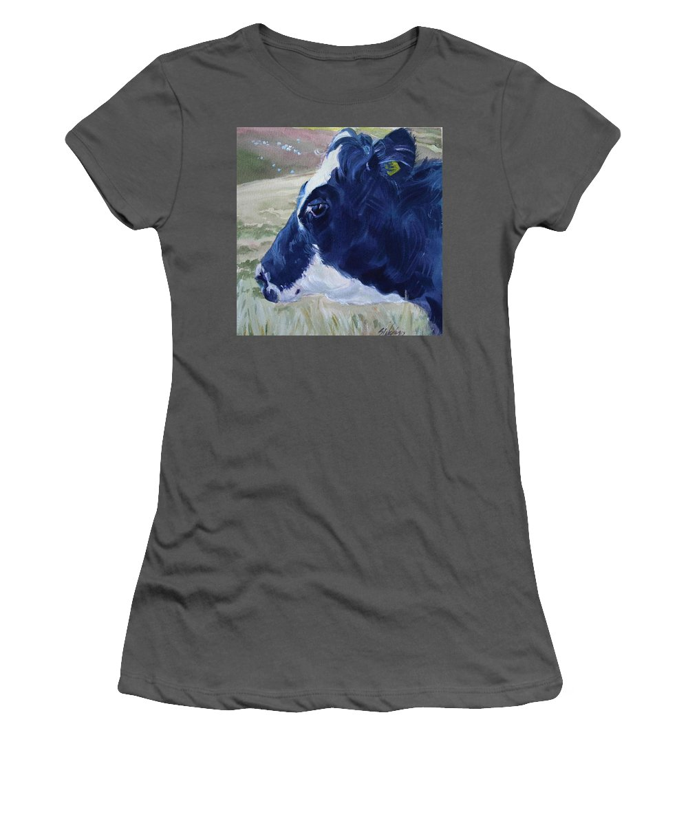 Cow Women's T-Shirt (Athletic Fit) featuring the painting Blue Coo by Sheila Wedegis