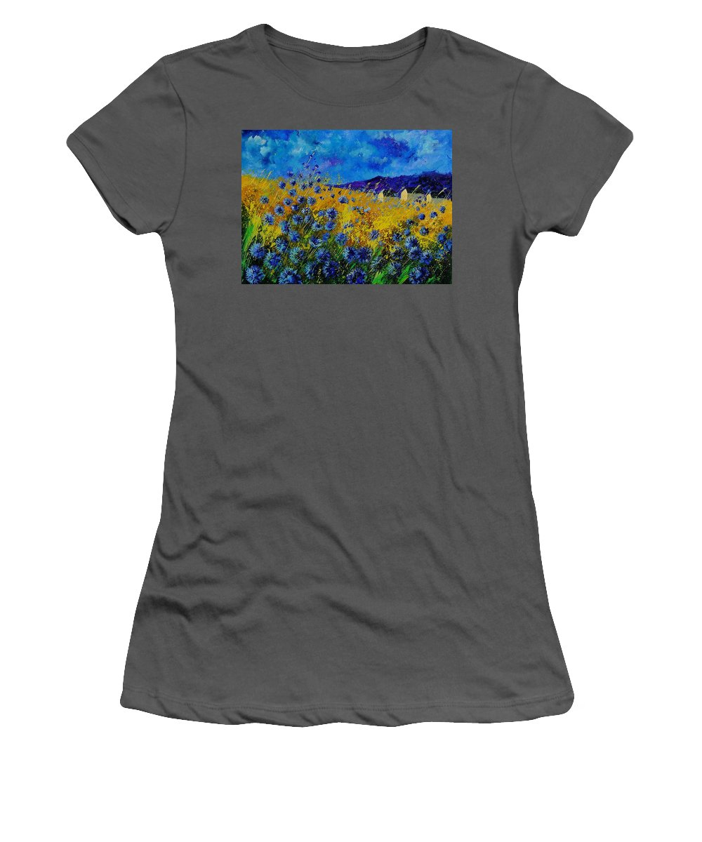 Poppies Women's T-Shirt (Athletic Fit) featuring the painting Blue Cornflowers by Pol Ledent